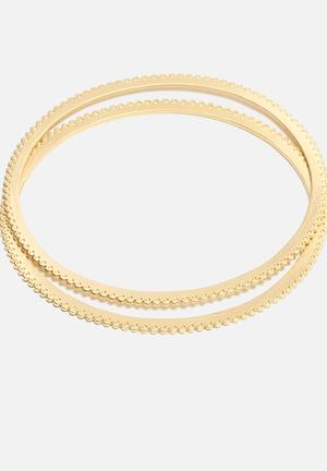 Orelia Pattern Edge Bangle 2 Pack Jewellery Gold