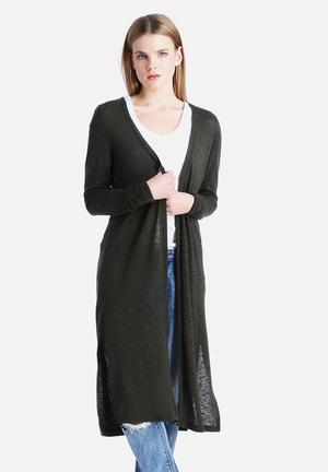 New Look Split Midi Cardigan Knitwear Dark Green