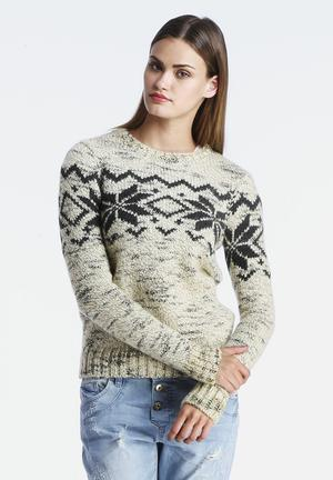 VILA Agency Knit Knitwear Beige & Grey