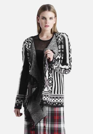 VILA Line Knit Cardigan Knitwear Light Grey Melange