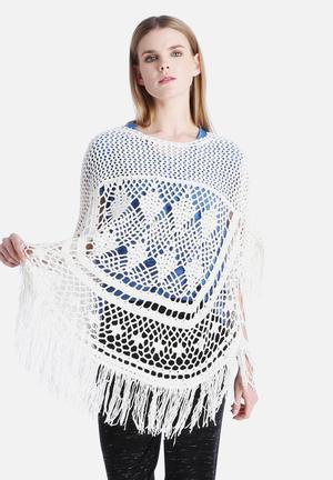 Noisy May Crochet Knit Poncho Knitwear Cream