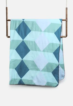 Present Time Block Fleece Blanket Bedding Blue