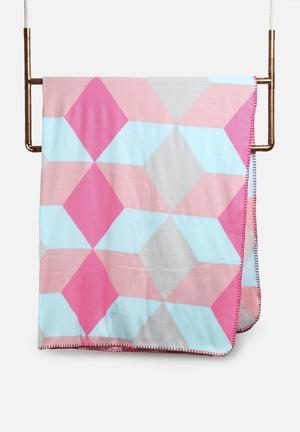 Present Time Block Fleece Blanket Bedding Pink