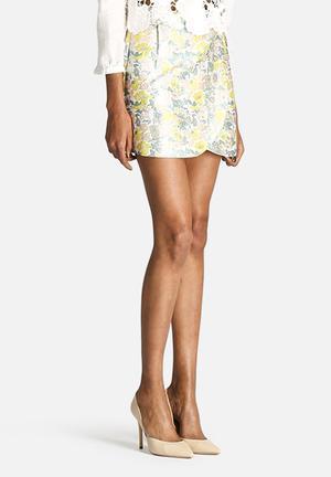 Dahlia Pastel Jacquard Wrap Skirt Yellow