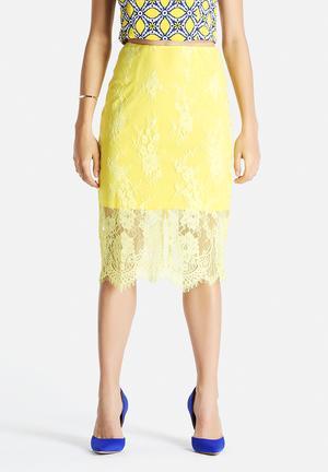 Glamorous Lace Overlay Skirt Yellow