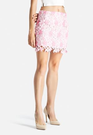 Glamorous Crochet Skirt Pink & White