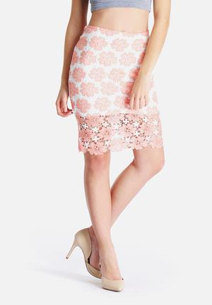 Glamorous Floral Lace Skirt Pink