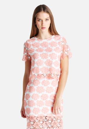Glamorous Floral Lace Top Blouses Pink