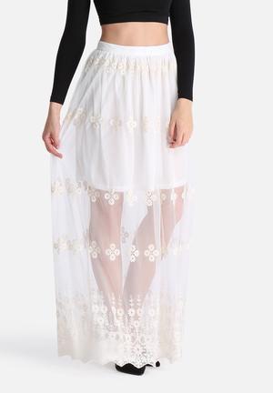 Glamorous Lace Overlay Skirt White
