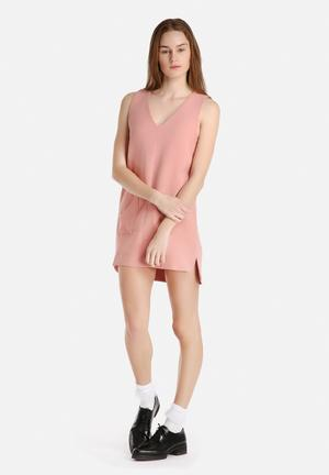 Dahlia Pinafore Dress With Pockets Casual Pink