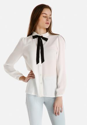 Dahlia Blouse With Tie Shirts White