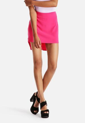 Neon Rose Drop Back Hem Skirt Hot Pink