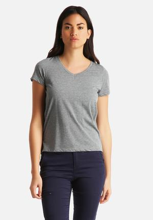 Vero Moda Molly V-Neck Tee T-Shirts, Vests & Camis Medium Grey