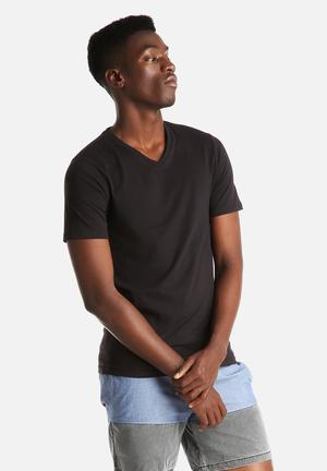Only & Sons Basic Slim V-Neck T-Shirts & Vests All Black