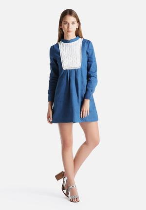 Dahlia Denim Smock Dress With Pin Tuck Bib Detail Casual Blue