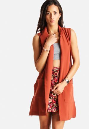 Glamorous Sleeveless Blazer Jackets Rust