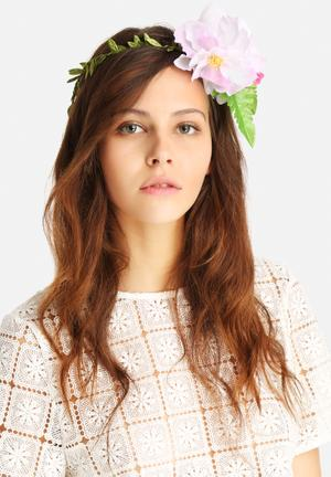 Johnny Loves Rosie Farah Floral Headband Fashion Accessories Green & Pink