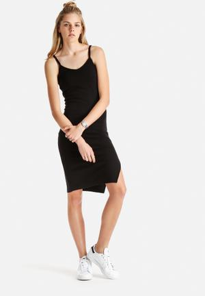 Stussy Wharfie Split Midi Dress Casual Black