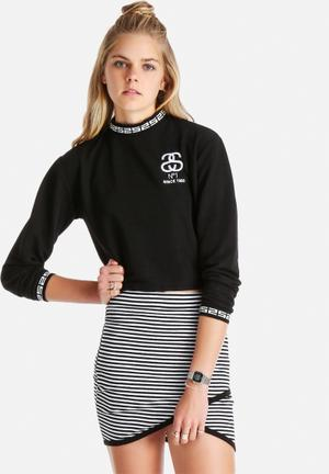 Stussy Cario Crop Jumper T-Shirts, Vests & Camis Black