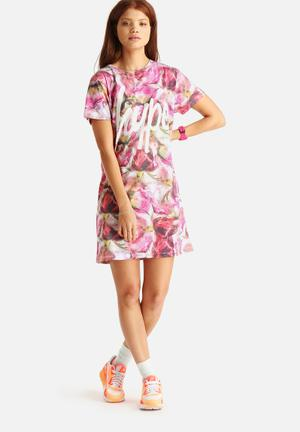 Hype Frozen Flower T-Shirt Dress Casual PInk & Purple