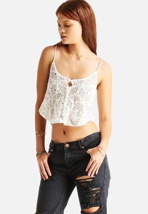 Glamorous Crochet Crop T-Shirts, Vests & Camis Cream