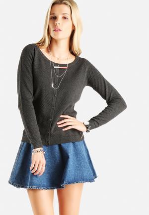 Vero Moda Care Structure Cardigan Knitwear Dark Grey