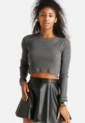 Noisy May Cropped Knit Top Knitwear Medium Grey