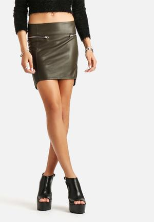 ONLY National PU Skirt  Deep Olive Green