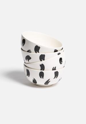 Urchin Art Set Of 4 Bowls Dining & Napery Black