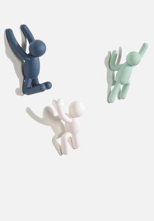 Umbra Buddy Hook Organisers & Storage Mint, White & Mist Blue