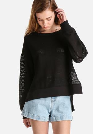 Pieces Astrid Mesh Sweat Knitwear Black