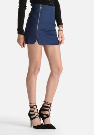 Lola May Denim Double Zip Skirt Navy