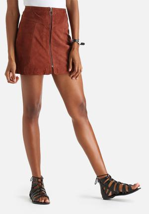 Y.A.S Simma Suede Skirt Brown
