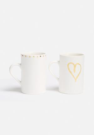 Urchin Art Set Of 2 Mugs White With Gold Accents