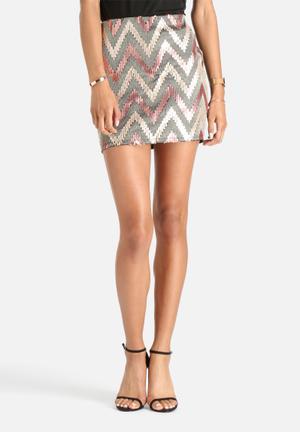 ONLY Zigzag Skirt Black, Bronze & Gold