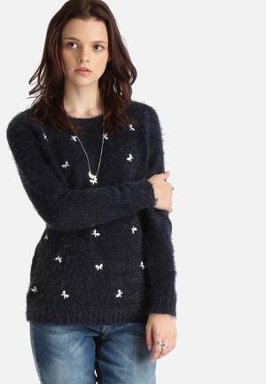 ONLY Rosalie Sweater Knitwear Navy