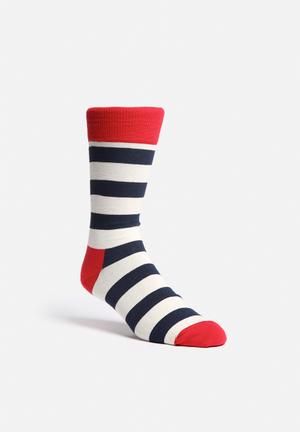 Happy Socks Stripe Socks Red / Navy / White