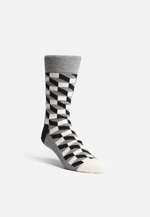 Happy Socks Filled Optic Socks Grey / Black