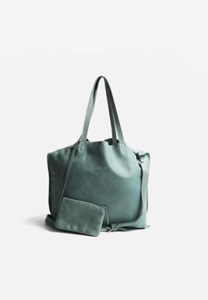 FSP Collection Lacy Floppy Leather Tote Bags & Purses Deep Teal