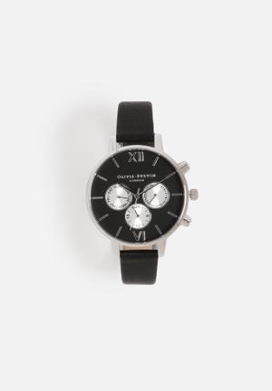 Olivia Burton Chrono Detail Watches Black & Silver