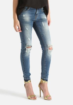 VILA Crush Skinny Destroyed Jeans  Medium Blue