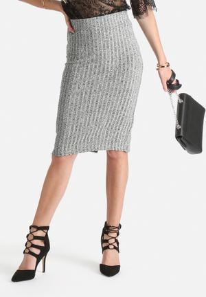 VILA Nolas Ribbed Skirt Grey
