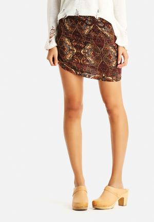 Glamorous Paisley Skirt Brown