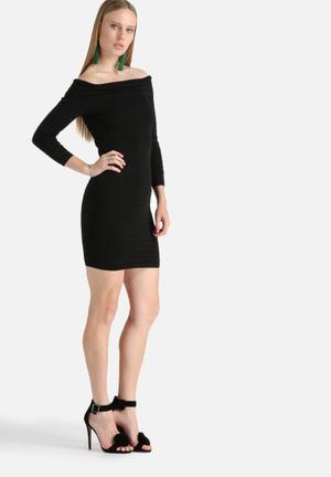 Bardot Faye Off Shoulder Dress Occasion Black