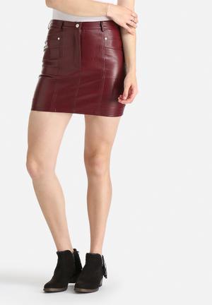 Goldie Lone Star PU Skirt Maroon