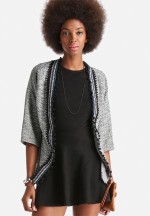Vero Moda Isabel Border 3/4 Cardigan Knitwear Light Grey