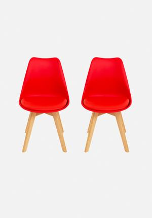 Eleven Past Set Of 2 Eames Inspired Chairs Red