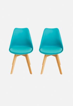 Eleven Past Set Of 2 Eames Inspired Chairs Blue