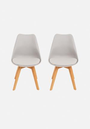 Eleven Past Set Of 2 Eames Inspired Chairs Grey