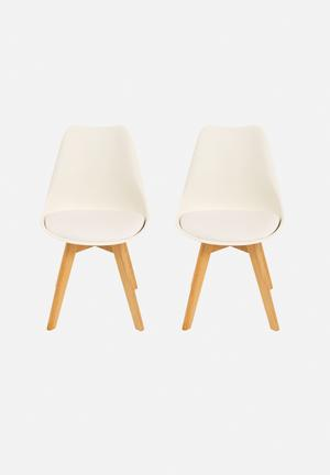 Eleven Past Set Of 2 Eames Inspired Chairs White